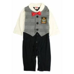 45cd485559d0d カバーオール 赤ちゃん ベビー 男の子 綿100% ベスト型スタイ付き フォーマル 長袖 ロンパース
