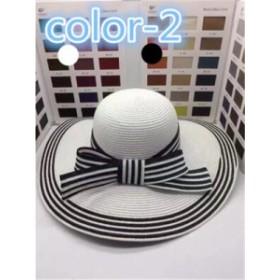 レディース帽子 ボーダー 麦わら リボン  UVカット 紫外線対策 日よけ ファッション ハイセンス アウトドア 着心地いい 夏 レディース帽