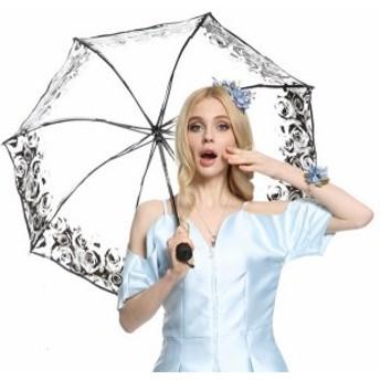 傘 透明 レディース ファッション 晴雨兼用 超軽量 三折りたたみ傘 遮光 防風 レディース 日傘 雨傘 日焼け防止 シンプル 傘