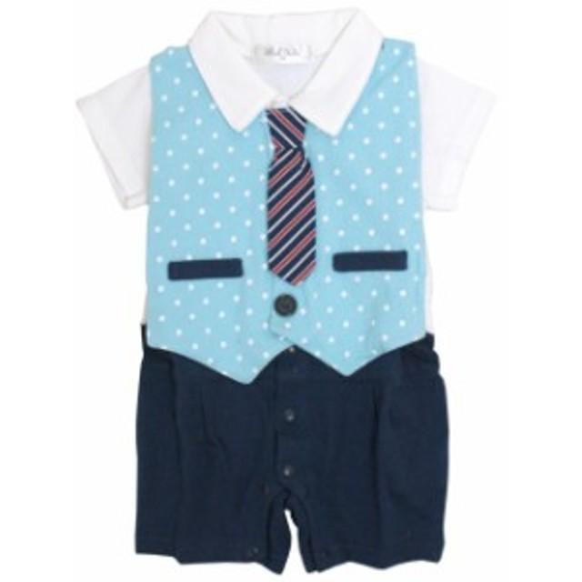 8fd7b001ba429 ロンパース 赤ちゃん ベビー 男の子 綿100% ネクタイ付ベスト型スタイ付き フォーマル 半袖 カ
