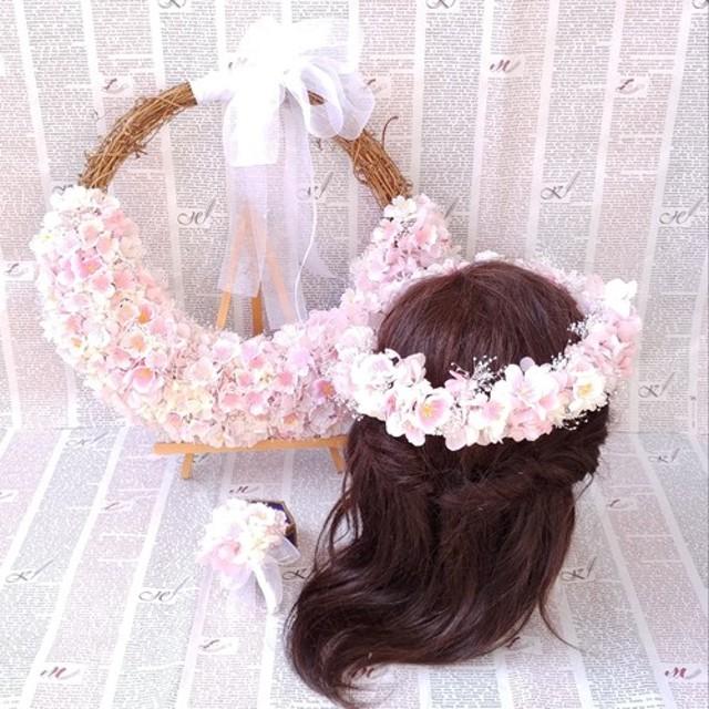 桜のハーフリースブーケ&ブートニア&花冠*プリザーブド&アーティフィシャルフラワー