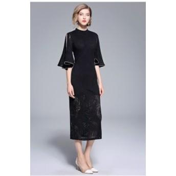 ブラックドレス スタンドカラー ラッパスリーブ 透け感 スリット ロング ワンピ きれいめ 可愛い 体型カバー オルチャン お呼ばれ