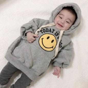 韓国子供服スマイル フードトレーナー(裏起毛)★80cm~120cm SC20