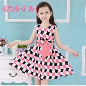 女の子ワンピース ドレス 対比色 キッズ・ジュニア服 ファッション おしゃれ ハイセンス ガール 着心地いい 夏 女の子ワンピース