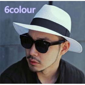 メンズ帽子 UVカット 紫外線対策 麦わら イングランド つば広 ツートン 日よけ ファッション アウトドア 着心地いい セール 夏 メンズ帽