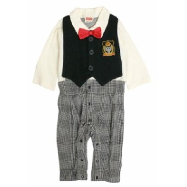 d6cdfabb818b8 カバーオール 赤ちゃん ベビー 男の子 綿100% ベスト型スタイ付き フォーマル 長袖 ロンパース