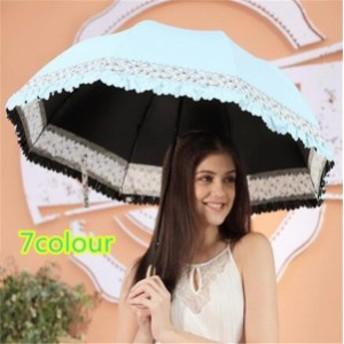 傘 レディース ファッション 上質 晴雨兼用 超軽量 三折りたたみ傘 遮光 防風 レディース 日傘 雨傘 黒膠 日焼け防止 UVカット 傘