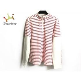アダバット Adabat 長袖ポロシャツ サイズ40 M レディース 美品 白×ピンク フード付き/ボーダー 新着 20190112