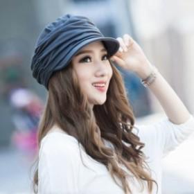 キャスケット 帽子 小顔効果 スウェット キャスケット帽 つば広 綿 大人かわいい お洒落デザイン 送料無料