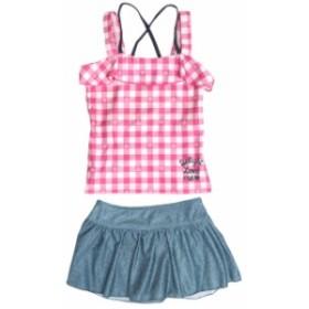 水着 子供 キッズ ジュニア 女の子 セパレート水着 2点セット タンキニ チェック柄 スカート ス