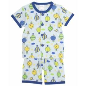 パジャマ ベビー 赤ちゃん 男の子 気球柄 腹巻付き 丸首 前開き 半袖 パジャマ 寝巻き 子供パジ