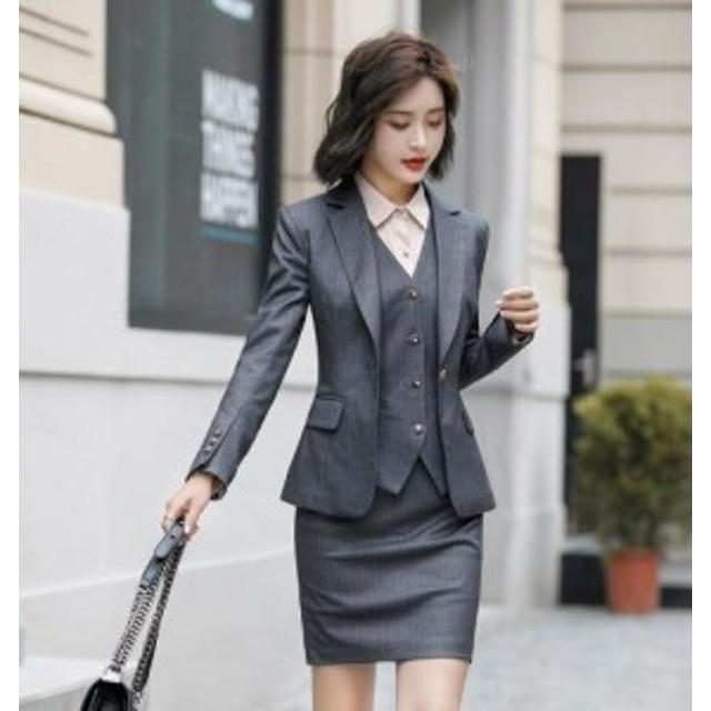 08ca9c2394d スーツ レディース スカート パンツセット 3点セット 事務服 フォーマル 二ボタン 制服 お洒落 ビジネス