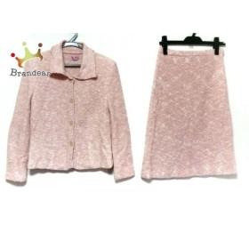 ユキトリイ YUKITORII スカートスーツ サイズ9 M レディース ピンク×アイボリー 肩パッド     スペシャル特価 20190709