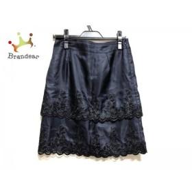 マテリア MATERIA スカート サイズ38 M レディース 美品 ダークネイビー×黒 刺繍         スペシャル特価 20190523