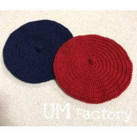 ベレー帽 紺 赤 ベビー