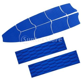 2個のテールパッドが付いている9個の青いエヴァサーフボードフルデッキ牽引パッドグリップ
