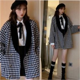千鳥格子がかわいいガーリーなジャケットコート 韓国ファッション