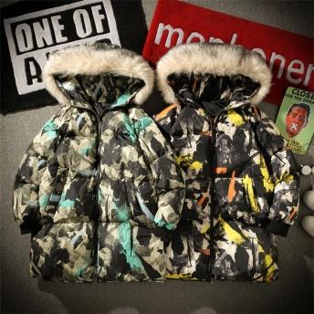 [55555SHOP] 限定発売 高品質で 韓国ファッション メンズ 迷彩柄 フードつき ダウンコート ジャケット 長袖 綿 コート防風 秋冬