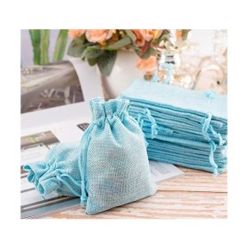 巾着袋 リネン ジュエリーポーチ 麻 ギフトバッグ 小物入れ ラッピング 無地 4色 40枚セット 12.8 X 10cm 4色