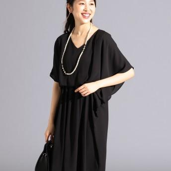 【オンワード】 FeteROBE(フェテローブ) 【優木まおみさん着用】ドレープスリーブサック ドレス ブラック 7 レディース