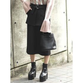 ひざ丈スカート - EMODA ベルトマークミディスカート