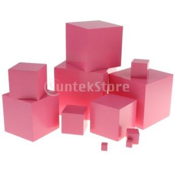 キッズ木製モンテッソーリおもちゃ - ピンクタワースタッキングブロック早期学習玩具
