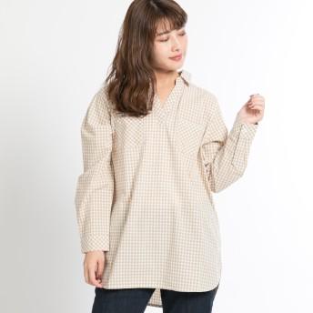シャツ - FINE ギンガムチュニックシャツ:トップス ゆったり カジュアル プルオーバー 襟 シンプル