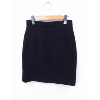 【中古】ナイン NINE スカート コクーン ミニ 無地 シンプル ウール 1 ブラック 黒 /FT25 レディース
