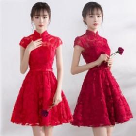 膝丈 ドレス 結婚式 ドレス パーティードレス レディース 結婚式ドレス ファスナータイプ ワンピース ウエディングドレス