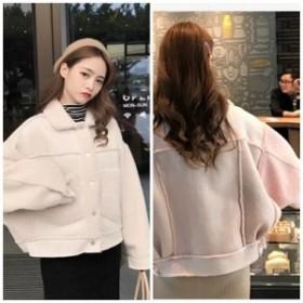 韓国ファッション スウェードジャケット ムートン風 ボア あったかい