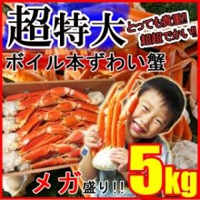\超早割/敬老の日 ギフト 【メガ盛り】ずわい蟹5kg 超特大 身入り抜群♪3~6Lサイズ ボイル済み 送料無料  《※冷凍便》