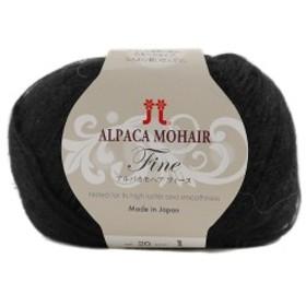 秋冬毛糸 『ALPACA MOHAIR Fine(アルパカモヘアフィーヌ) 020(黒)番色』 Hamanaka ハマナカ