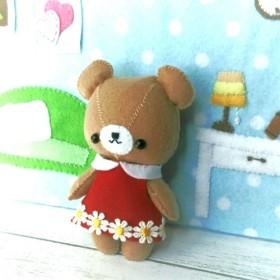 《 型紙レシピ 》フェルトで作るクマさん 着せ替え♪クマのぬいぐるみ 洋服 型紙 作り方