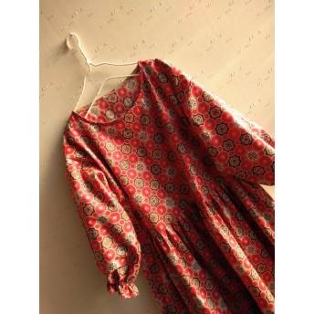 ふんわり袖フリルゴム赤花柄着物柄和柄ワンピースM