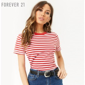FOREVER21 綿素材100% ボーダーボクシーTシャツ 半袖