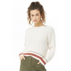ニット・セーター - FOREVER 21 【WOMEN】 【ストライプトリムモールセーター】 ニット セーター 長袖 ゆったり/オーバーサイズ 白 ホワイト 赤 レッド XS S M L