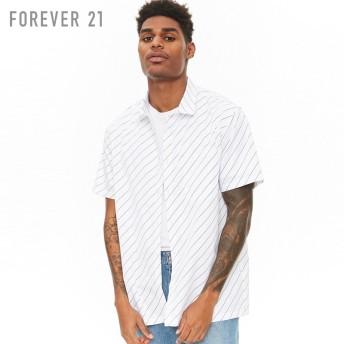 FOREVER21 フォーエバー21 【[MEN]バイアスストライプシャツ】(5,000円以上購入で送料無料)