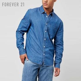 FOREVER21 フォーエバー21 【[MEN]コットンシャンブレーシャツ】(5,000円以上購入で送料無料)