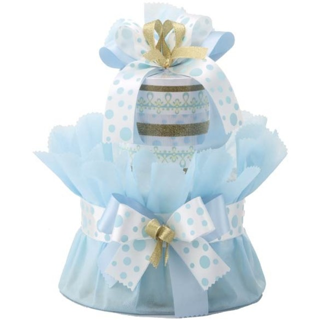 おむつ de ケーキ(小) AN-14 メリーズ×ブルー 贈り物ギフト 出産・お誕生日の贈り物ギフト おむつケーキ (26)