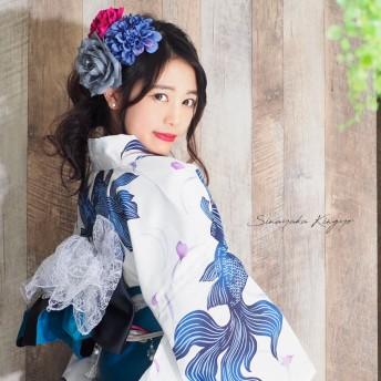 浴衣 - Ainokajitsu 女性浴衣 レディース浴衣 浴衣 単品 浴衣単品 レトロ 仕立て上がり レディース 女性用 フリー 白 ホワイト 青 ブルー 金魚 変わり織 お洒落