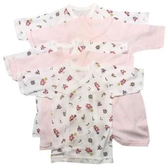 [スナップタイプ]長袖新生児肌着5点セット サーカス ピンク インナー・パジャマ 新生児・乳児(50~80cm) 新生児肌着セット (45)