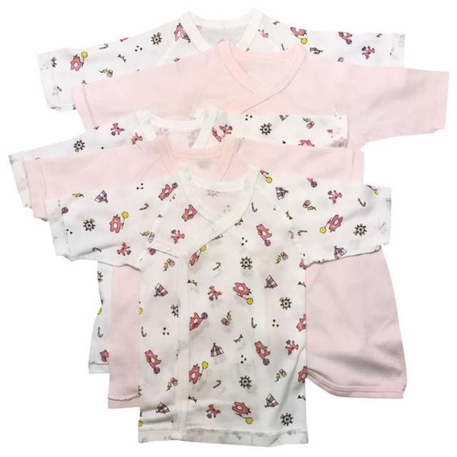 [長袖]新生児肌着5点セット スナップ サーカス ピンク インナー・パジャマ 新生児・乳児(50~80cm) 新生児肌着セット (51)