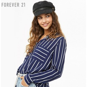FOREVER21 フォーエバー21 【ストライプハイローシャツ】(5,000円以上購入で送料無料)