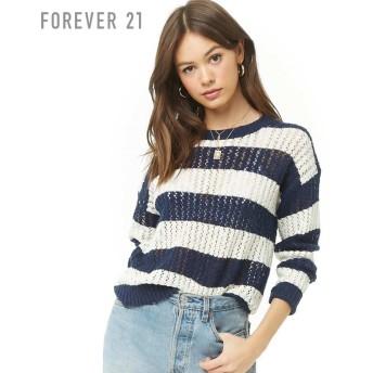 FOREVER21 フォーエバー21 【ボーダーオープンセーター】(5,000円以上購入で送料無料)