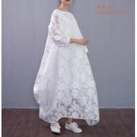 q22★レディース ワンピース マキシ丈 ロング 花柄 フリーサイズ ホワイト白