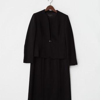 polepine <アンサンブル> 変形ノーカラージャケット+裾レースワンピース 2点セット○1963791 ブラック フォーマルスーツ