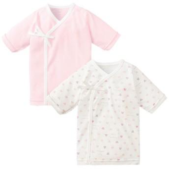 新生児 [ひもタイプ]長袖短肌着2枚組 くまくま ピンク インナー・パジャマ 新生児・乳児(50~80cm) 短肌着 (42)