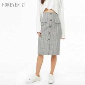 FOREVER21 フォーエバー21 【グレンチェックミディスカート】(5,000円以上購入で送料無料)