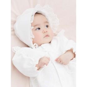 【ANGELIEBE/エンジェリーベ】【日本製】新生児綿ポンチドレス&帽子セット オフホワイト