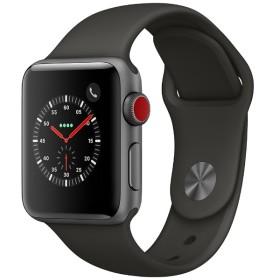 Apple Watch Series 3(GPS + Cellularモデル) 38mm スペースグレイアルミニウムケースとグレイスポーツバンド MR2Y2J/A
